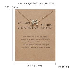 Angel Wings Pendant Choker Necklace Gold Plated